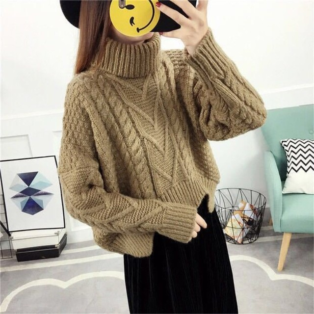 loose collar sweater female short bat sleeves wind rough woolen coat thickening 1