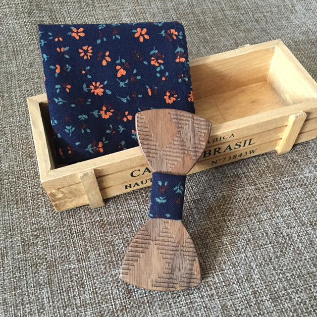 New Design Male Wedding Wooden Bowties Wiht Flower Pocket Square For Men For Christmas