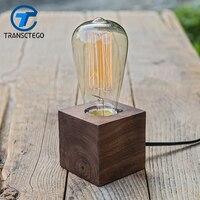 wood desk lamp vintage table lamps for bedroom creative decoration lamp Handmater wooden desk lights personality