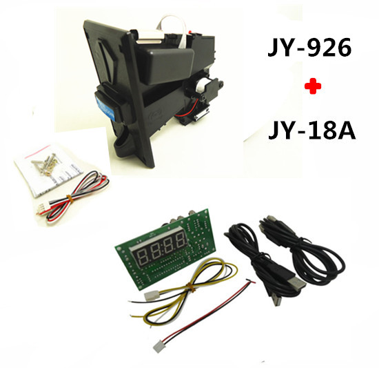 JY926 coin operated multi coin selector acceptor with JY18 USB timer board time control for cafe kiosk