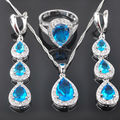 Water Drop Sky Blue Cubic Zirconia Women's 925 Sterling Silver Jewelry Sets Earrings/Pendant/Necklace/Rings Free Shipping QS030