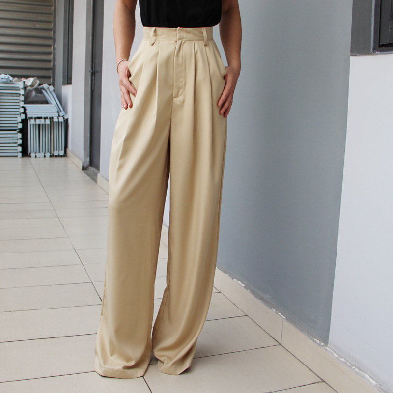 High Waisted Pleated Woman   Wide     Leg     Pants   Fashion Loose Women Trousers Casual Full Length Palazzo   Pants