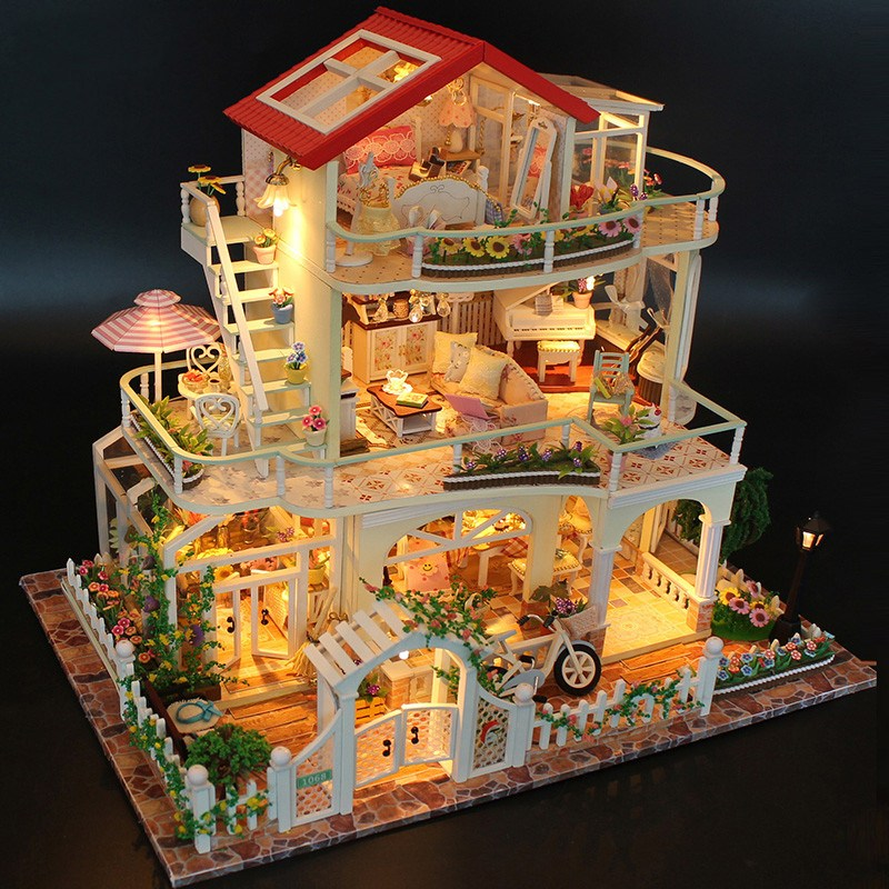 Hoomeda 13845 Be Enduring As The Universe DIY Dollhouse With Music Light Cover Miniature Model Best Gift For Children