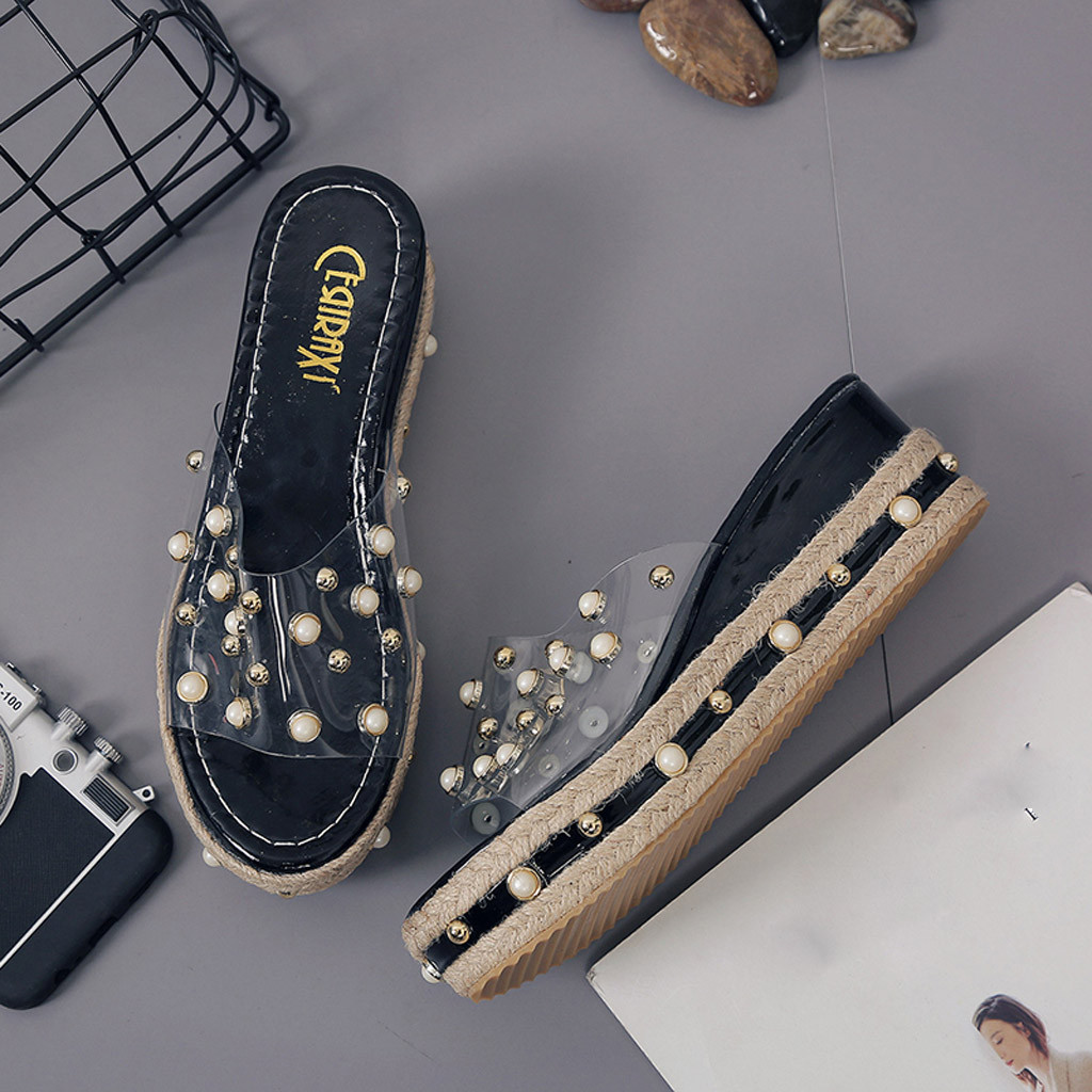 HTB1f2Q.X1bviK0jSZFNq6yApXXa2 Fashion Jelly Sandals Summer Candy Slippers Woman Shoes Flats Ladies Womens Zapatos Mujer Slip On Pearl Beach Wedges Jelly Shoe