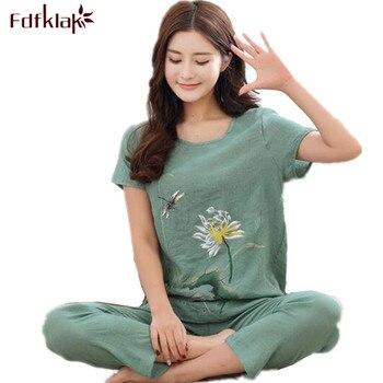 L XL XXL 3XL 4XL Musim Panas Wanita Piyama Pakaian Rumah Ditambah ukuran Pakaian Tidur Set Piyama Untuk Wanita Pijamas Pijama Set Katun Linen
