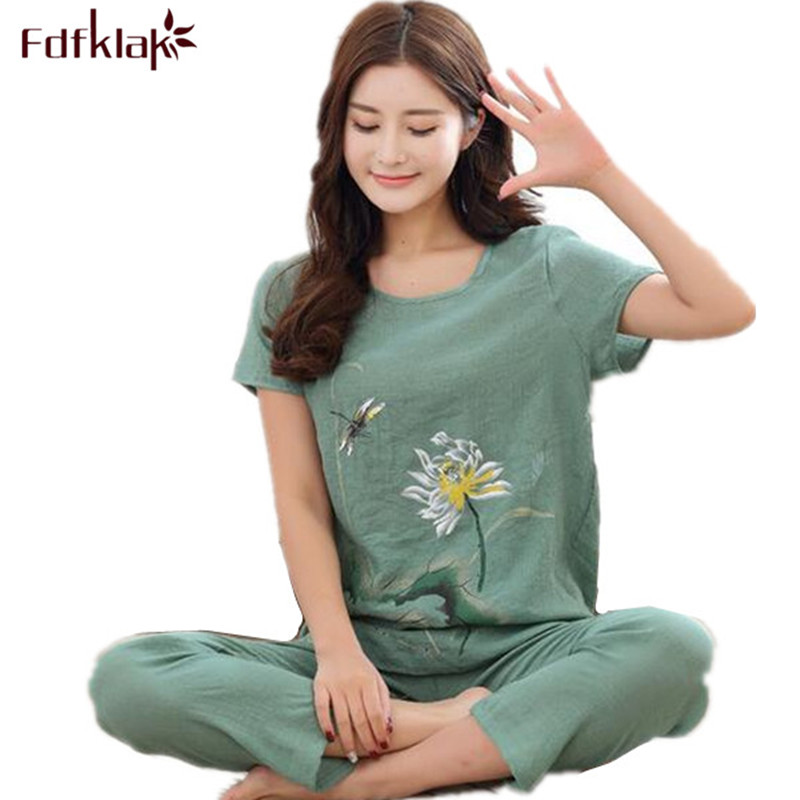 L XL XXL 3XL 4XL Summer Women Pyjamas Home Clothes Plus Size Sleepwear Set Pajamas For Women Pijama Sets Cotton Linen Pijamas