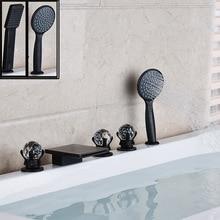 Deck Montiert Badezimmer Schwarz Wasserfall Badewanne Wasserhahn 5 stück Verbreitet Kristall Griff mit Handbrause