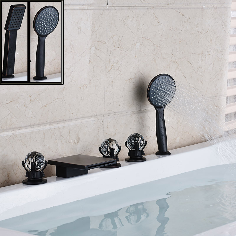 Deck Mounted Bathroom Black Waterfall Bath Tub Faucet 5pc Widespread Crystal Handle with Handshower