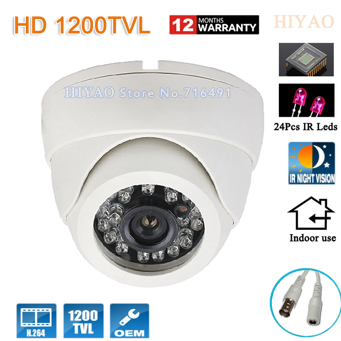 1/2.5' COMS Sensor 1200TVL CCTV Camera HD Indoor Dome IR-CUT 24 IR leds mini Surveillance Security Camera with Night Vision big sale 1 3cmos 1200tvl cctv hd dome camera surveillance indoor 22led infrared ir cut night vision monitoring security vidicon
