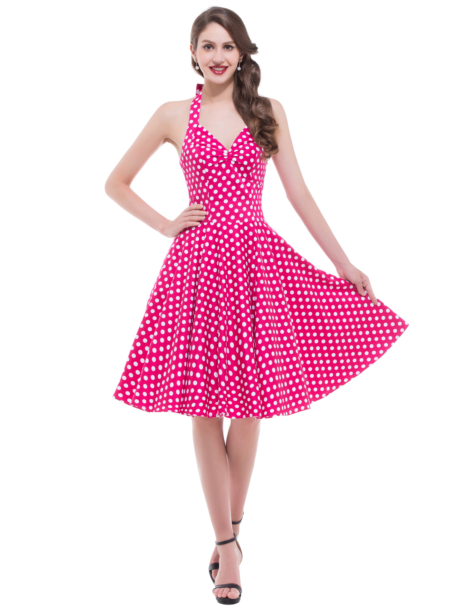 VINTAGE Style Polka Dots Halter Swing 50s pinup Prom HOUSEWIFE Dress