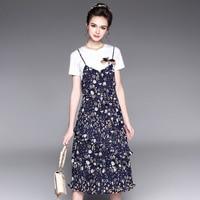 Plus size clothing S-5XL twinset 2017 summer Dress Women dresses T-shirt + dress slim fancy one-piece dress vestidos vestido