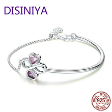 Authentic 100% 925 Sterling Silver Elegant Infinity Bracelet Women Link Chain Adjustable Jewelry CQB092