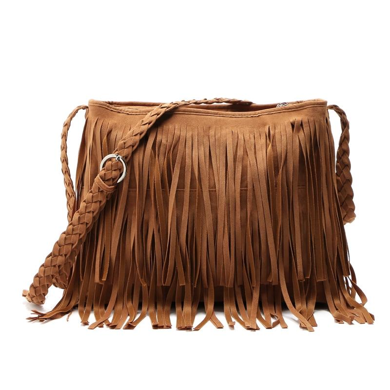 546f46fc5f Hot sale Faux Suede Fringe Tassel Shoulder Bag Women s fashion Handbag  Crossbody Bag Messenger Bags Four Colors Borlas Feminial