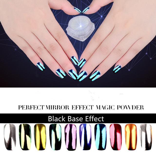 Nueva 10 colores espejo holográfico Polvos de maquillaje Manicura ...