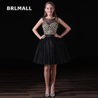 2018 Simple Black Homecoming Dresses Tulle Lace Applique Crystal Plus Size Custom Made Graduation Gown