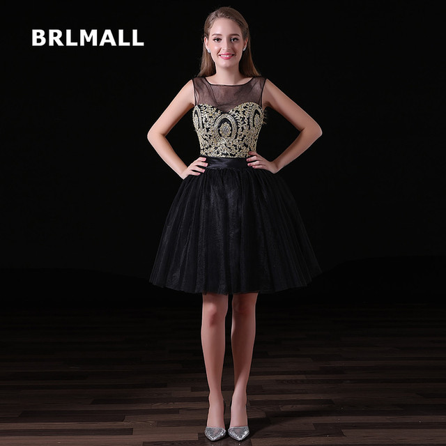 2019 Simple Black Homecoming Dresses Tulle Lace Applique Crystal