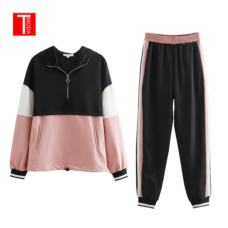 2019 Tracksuit Women Two Piece Set Outfits For Women Slim Color Stitching Jacket Casual Jacket And Jogging Casual Pants Suit