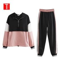 2020トラックスーツの女性ツーピースセット女性スリムカラーステッチジャケットカジュアルジャケットとジョギングカジュアルパンツスーツ