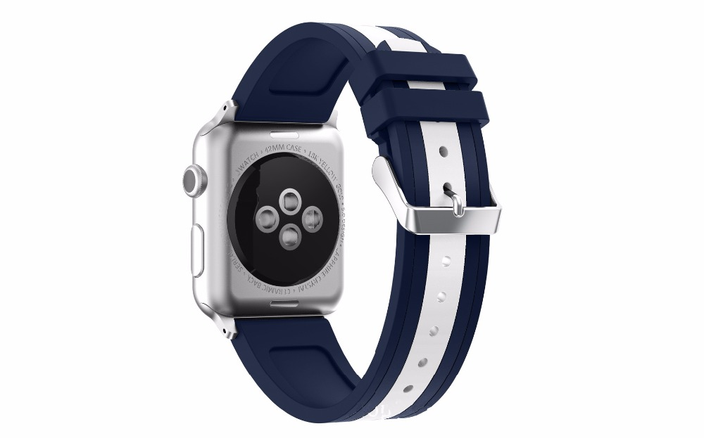 2pcs 38mm 42mm Apple Watchbands series 1 & 2 Soft Silicone Sport Replacement Watch Band For iWatch Strap With Connectors Blue 38mm 42mm soft silicone sport strap for apple watch series 1 2 light flexible breathable replacement band watch strap for iwatch