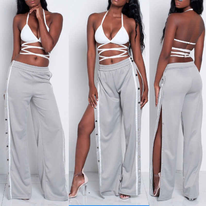 Pantalones Largos De Pierna Ancha Para Mujer Pantalon Informal Con Botones Laterales Divididos A La Moda Para Verano Fashion Trousers Wide Legfashion Pants Aliexpress