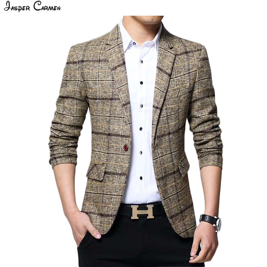 2018 New Fashion Men Business Plaid blazer Casual Stripes Blazers Men top qiality lattice Formal jacket Popular blazers ZL69 ...