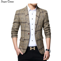 2018 New Fashion Men Business Plaid Blazer Casual Stripes Blazers Men Top Qiality Lattice Formal Jacket