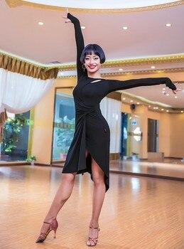 e7f1c7cd Vestido de baile latino de manga larga falda Irregular de señora de salón  de baile Tango vestidos Cha Salsa ropa para mujer ropa de práctica Latina
