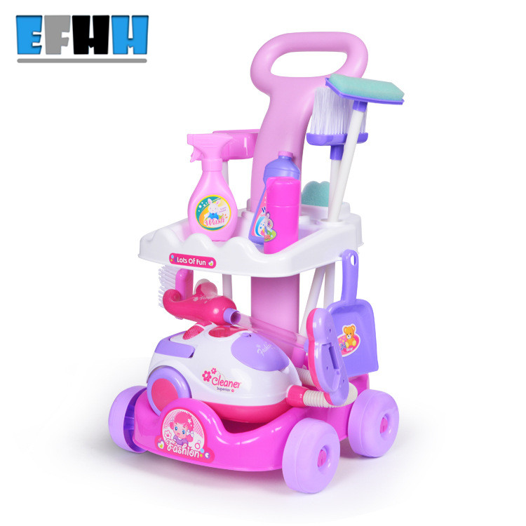 EFHH Simulation Cart Cleaning Tool Plastic Vacuum Cleaner Electric Appliances Toy Set for Gril Kid Education Toy Drop Shipping new arrival without original box house kitchen cart barbecue kitchen cart simulation role playing best early education toys