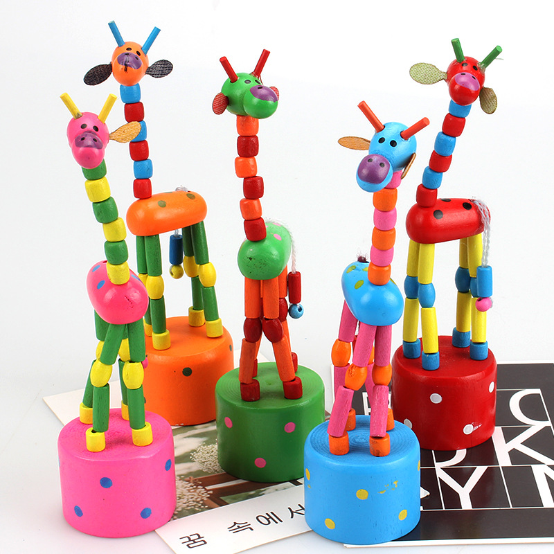1PC Baby Educational Wooden Toys Blocks Rocking Giraffe Toy Kids Dancing Standing Wire Animal Random DropShipping