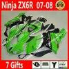 ABS Plastic For Kawasaki ZX6R Fairings 2007 2008 Zx 636 07 08 Colorful Bodywork Fairing Kits