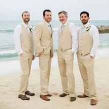 Summer Champagne Linen Men Wedding Suits Man Blazer Slim Fit Terno Masculino Costume Homme Groom Tuxedos 3Piece Coat Pants Vest