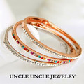 Lady Favorite!! Rose Gold Plated Austrian Rhinestone Studded Sweets Lady Bangle Bracelet Wholesale 3 Colors