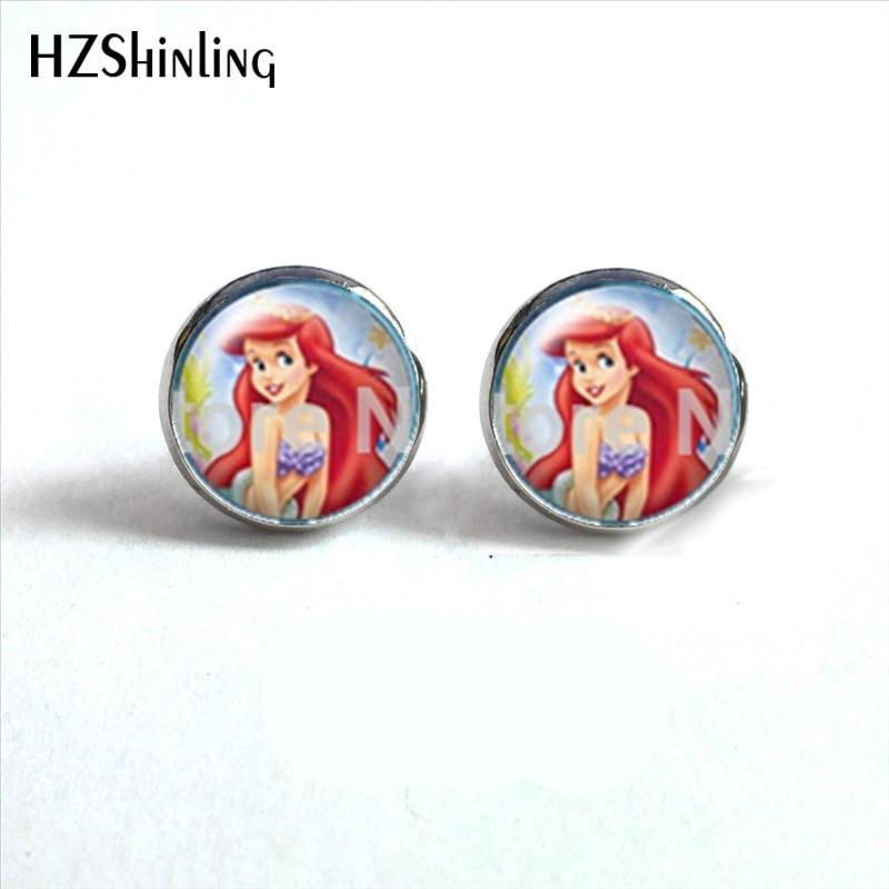 NES-00108 Little Mermaid Earrings Studs Post Beach Jewelry Mermaid Stud Earings Art Photo Glass Dome Earring HZ4