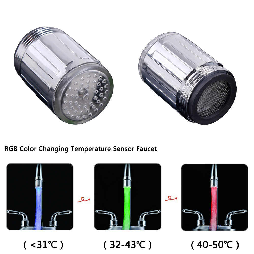 LED 水蛇口ストリームライトキッチンバスルームシャワータップ蛇口ノズルヘッド 7 色変化温度センサー Led 蛇口ライト