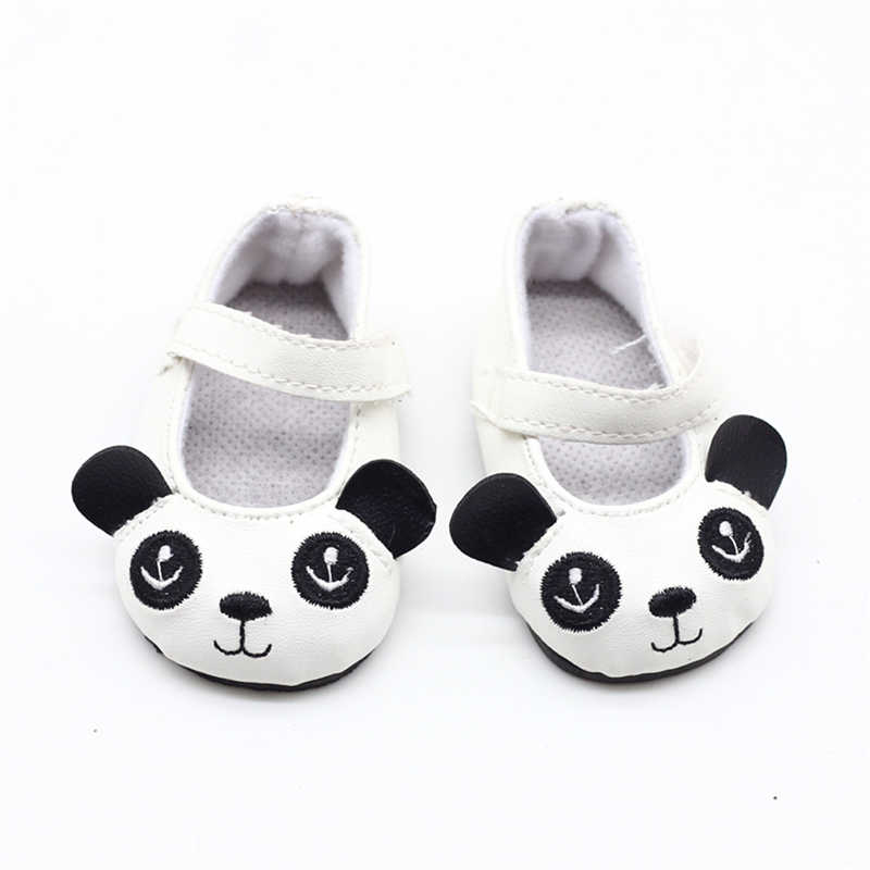 White Panda Doll cloth shoes For 18 Inch Baby new born Doll Handmade Sneakers Girl Clothes Accessories 43cm baby Doll