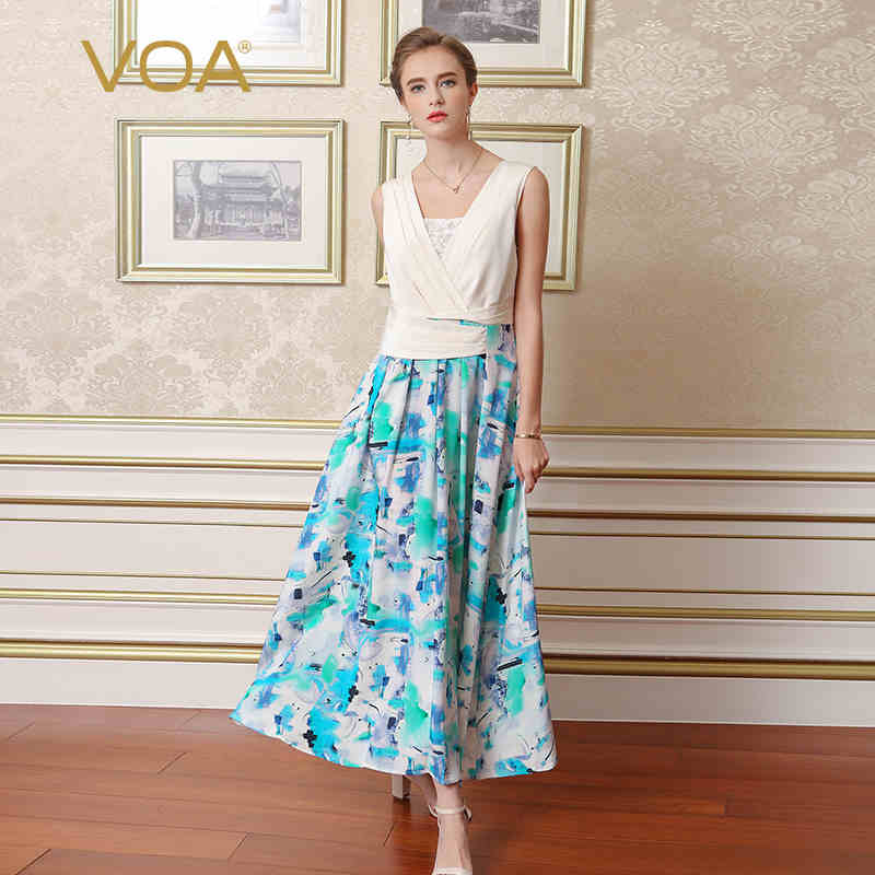 VOA 2017 new hit color no sleeve stitching printed silk dress concise and fresh lace dress female A6807
