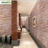 Brick Stone Wall Paper Europe Rustic Vintage PVC Exfoliator Washable Self Adhesive Wallpaper Livingroom Backdrop Wall