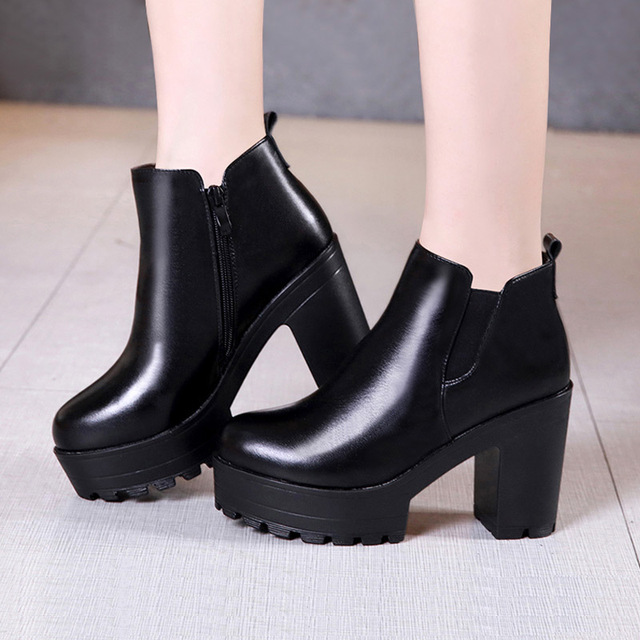 aa73412774c Quality Designer Block Heels Platform Boots Leather Shoes Women Fall Winter  2019 Chunky Ankle Boots for Women High Heel Boot