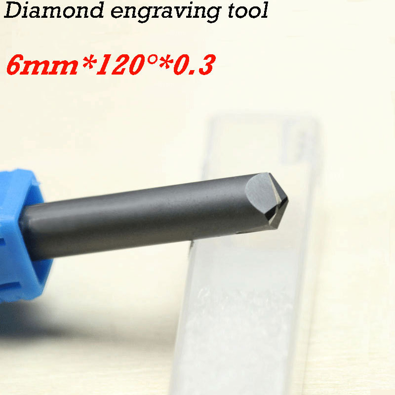 1pc 120 degree 6*0.3mm CNC diamond cutter carving tools stone router bits huhao 1pc 6mm cnc router end mill diamond pcd tools stone hard granite cutting engraving bits 30 35 40 45 degree pcd cutter