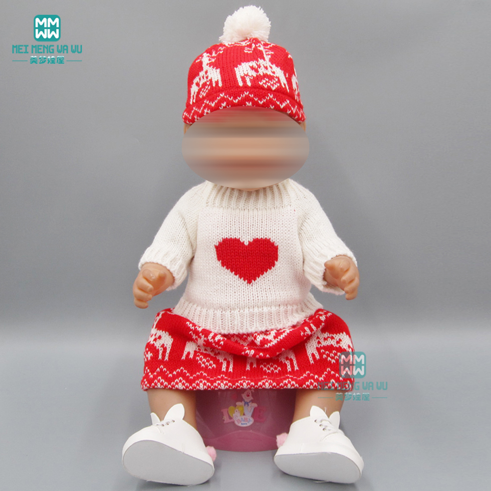 Baby Clothes For Doll Fit 43cm New Born Doll Accessories White Sweater + Short Skirt + Hat