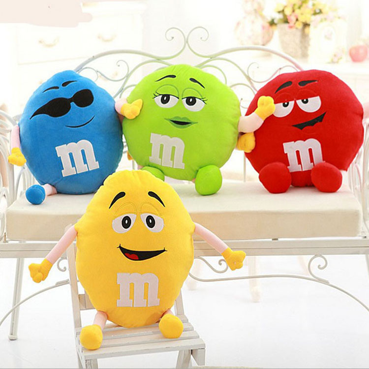 Candice Guo! Plush Toy Stuffed Doll Funny Expressions M&M's Chocolate Buttons Bean Cushion Creative Birthday Christmas Gift 1pc