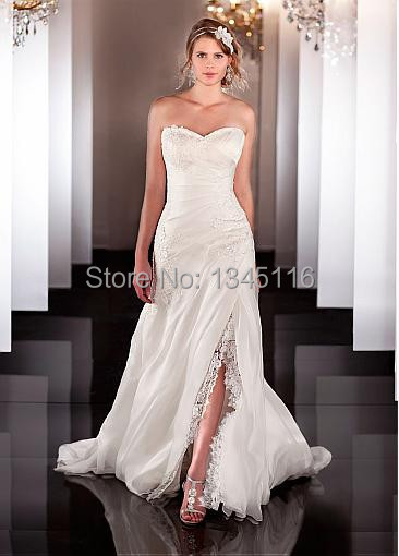 White Ivory Organza Satin Sweetheart A-line Wedding Dress 2016 Removable Strap Bridal Gown Appliques Vestido De Custom made