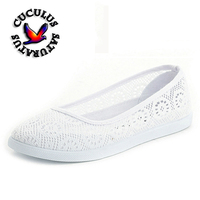 Cuculus Sommer Frauen Schuhe krankenschwester schuhe Casual Ausschnitte Spitze Segeltuchschuhe Hohl Floral Breathable Plattform Flache Schuhe feminino436