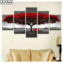 5 spelled diamond painting tree autumn landscape full square drill embroidery living room decorative