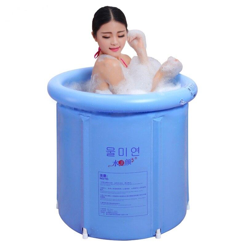 Eau beauté bleu clair baignoire pliante baignoire baignoire gonflable baignoire en plastique épais baignoire adulte baignoire - 4