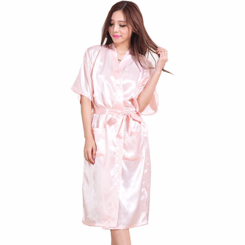 Women Ladies Satin Silk Japanese Kimono Robes Bathrobe Wedding ...