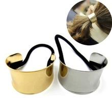 LNRRABC Punk Alloy Gold Silver Elastic Hair Rope Ties Girls Hair Accessories Ponytail Holder for women accesorios para el pelo