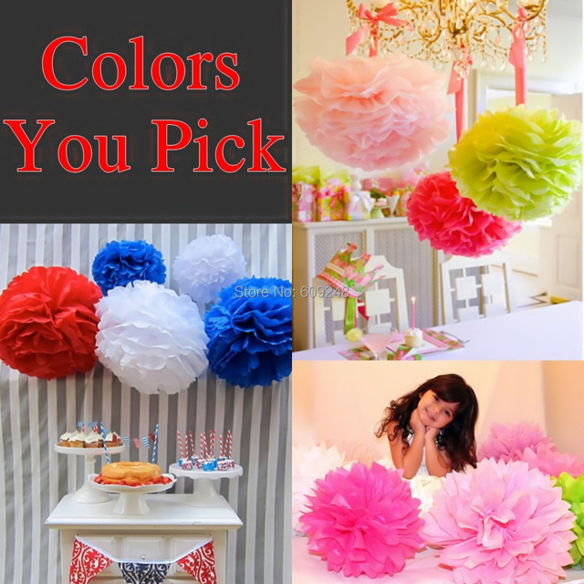 Us 560 20 Off50pcs 1435cm Mixed Colors Blue Black Green Red Gold Silver Yellow Orange Pink White Purple Mint Wedding Tissue Paper Pom Poms In