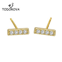 Todorova Minimalist Style Zircon T Bar Earrings for Women Fashion Golden Geometric Square Stud Jewelry Gift pendientes