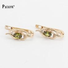 PATAYA Natural Olive Green Earrings 585 Rose Gold Natural Cubic Zircon Fine Jewelry Short Eardrop Accessories Vintage Earrings